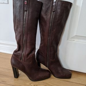 Prada - leather knee high boots